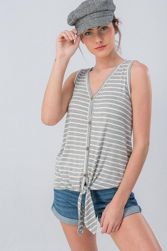 Striped Button Down Front-Tie Top