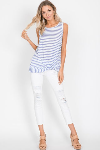 Lilac Striped Twisted Hemline Top