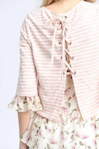 Floral & Stripe Lace-up Back Top