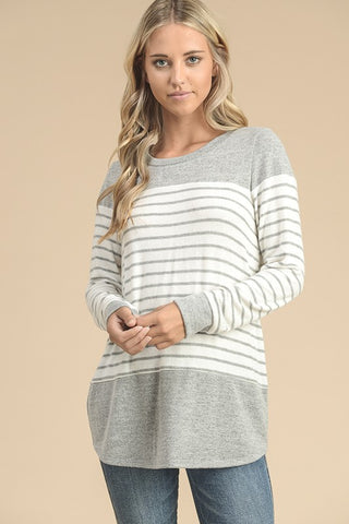 Color Block  Striped Tunic Top