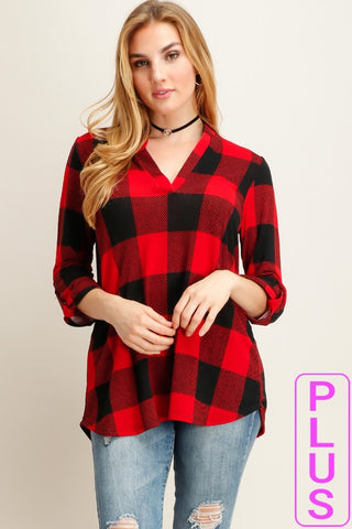 Buffalo Plaid Mandarin Neck Top - Plus