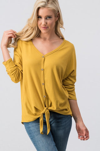 Waffle Knit Front Tie Top ~ Mustard
