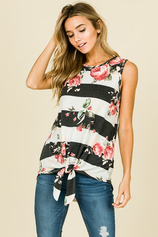 Floral Stripe Tie Knot Top