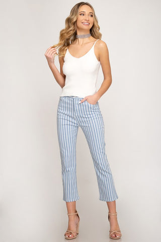 Striped Ankle Flare Pants