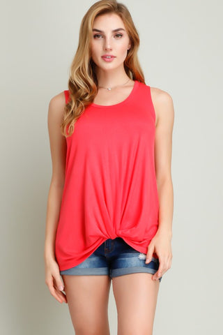 Coral Front-Knot Sleeveless Top ~ Plus