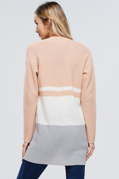 Color Block Cardigan ~ Peach