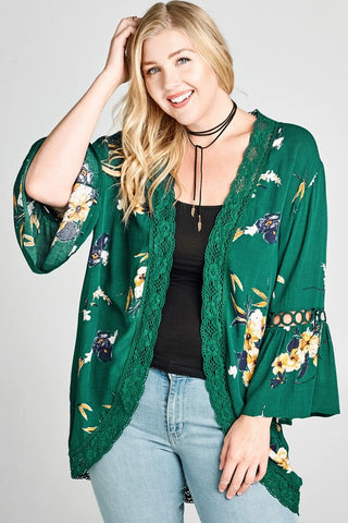 Floral Kimono with Crochet Detail - Antique Green