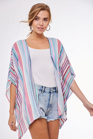 Multi Colored Striped Kimono
