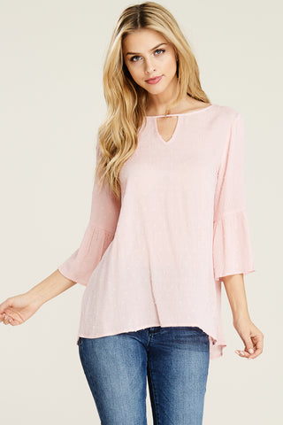 Blush Swiss Dot Bell Sleeve Top