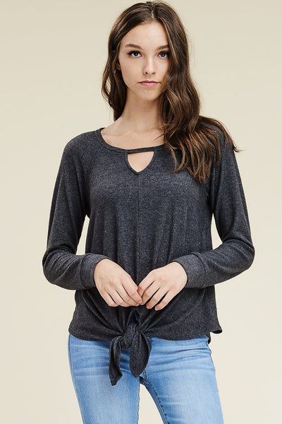 Charcoal Keyhole Tie Front Top