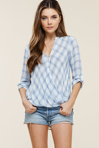 Plaid Wrap Front Top
