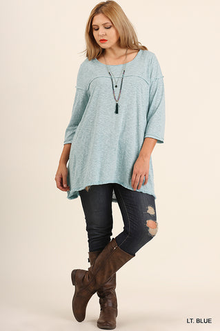 Scoop Neck Tunic with Raw Hemline