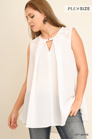 Keyhole Sleeveless Top with Lace Detail