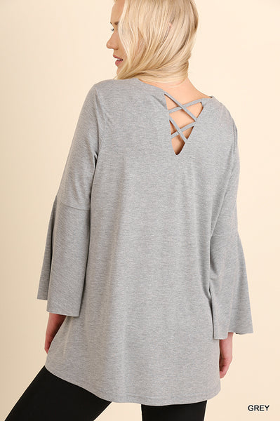 Bell Sleeve Criss-Cross V-Neck Top