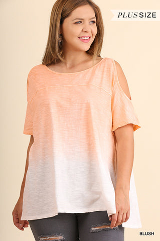 Ombre Cold-Shoulder Top