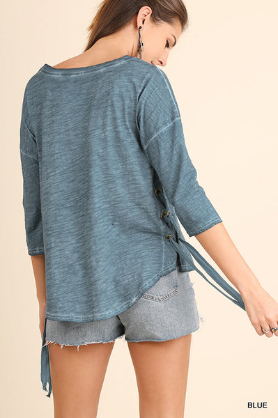 Blue Mineral Wash Lace-up Top