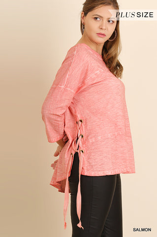 Salmon Mineral Wash Lace-up Top