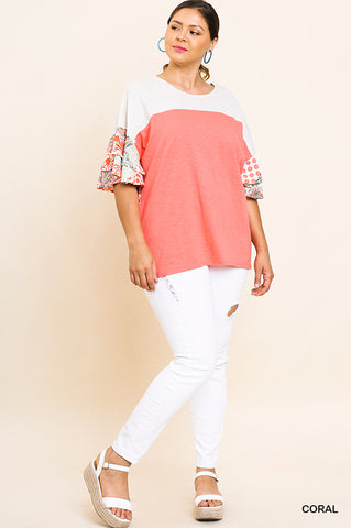 Coral Colorblock Paisley Layered Sleeve Top ~ Plus