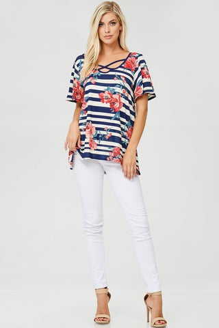 Floral Stripe Criss-Cross Detail Top