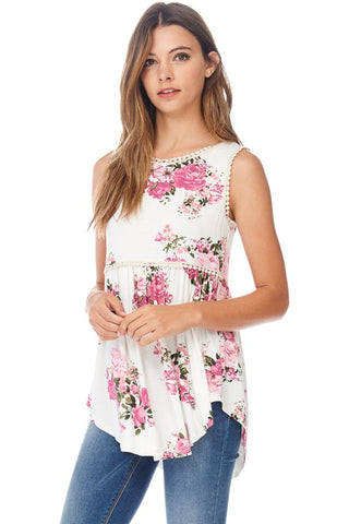 Baby Doll Floral Tunic - Ivory