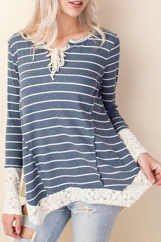 Blue Stripe Lace Detail Top