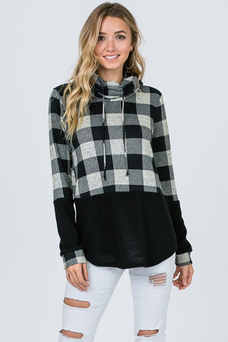 Buffalo Plaid Funnel Neck Top - Taupe & Black