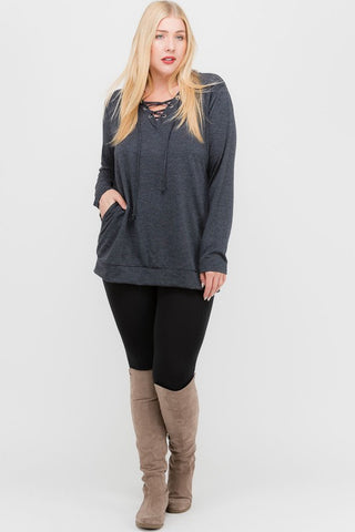 Lace Up Front Front Pocket Knit Top ~ Plus