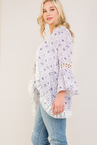 Kimono with Crochet Detail ~ Blue Berry