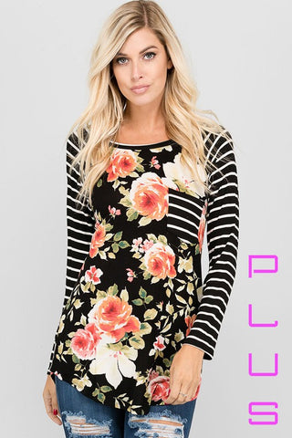 Floral Stripe Contrast Raglan Top - Plus