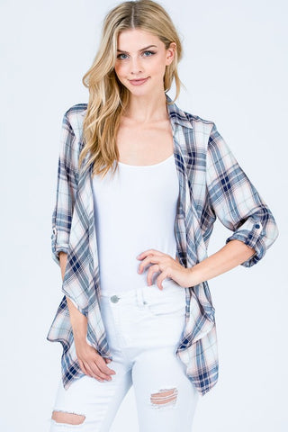 Plaid Open Front Waterfall Cardigan
