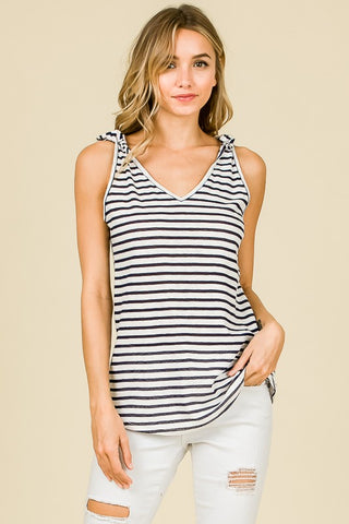 Navy Striped V-Neck, Sleeveless Top