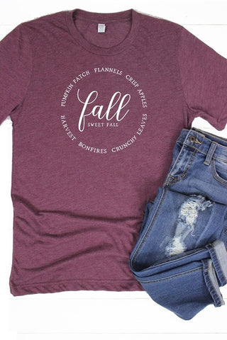 Fall Sweet Fall Crew Neck Graphic Tee