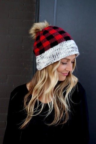 Buffalo Plaid Pom-pom Hat