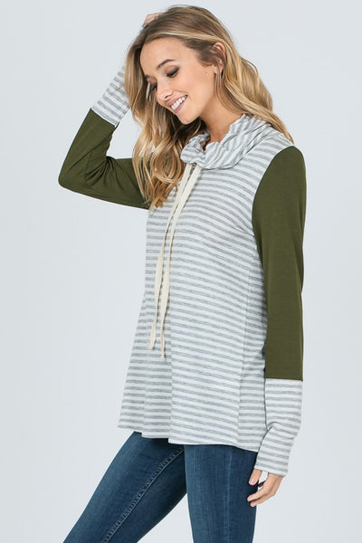 Striped Cowl Neck Contrast Sleeve Top