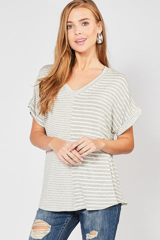 Contrast Striped V-Neck Top