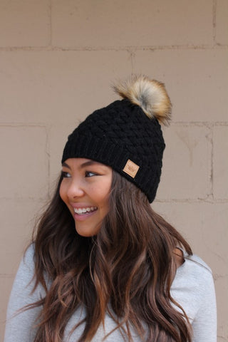 Basketweave Pom Hat ~ Black