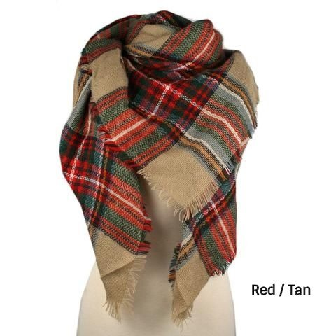 Blanket Scarf - Red / Tan