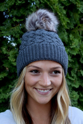 Basketweave Pom-pom Hat ~ Grey