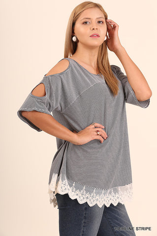 Hairline Cold-Shoulder Top