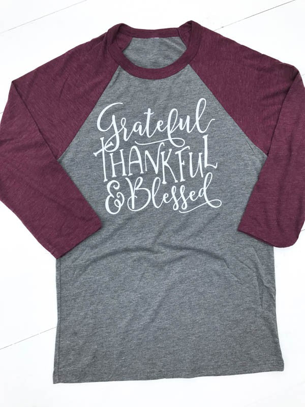 """Grateful, Thankful & Blessed"" Raglan Graphic Tee"
