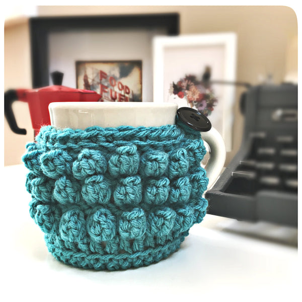 Adorable Popcorn Stitch Mug Cozy -- Free Crochet Pattern