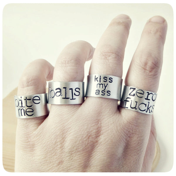 Hand Stamped Brushed Aluminum Rings Lord Lady Nerd