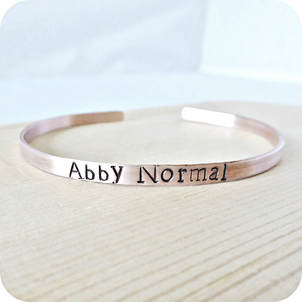 Abby Normal Funny Skinny Copper Cuff Bracelet