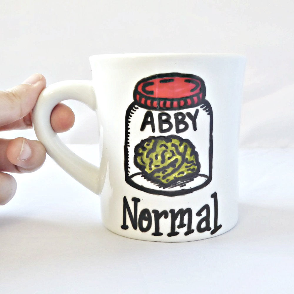 Hand Painted Abby Normal Brain Jar Coffee Mug