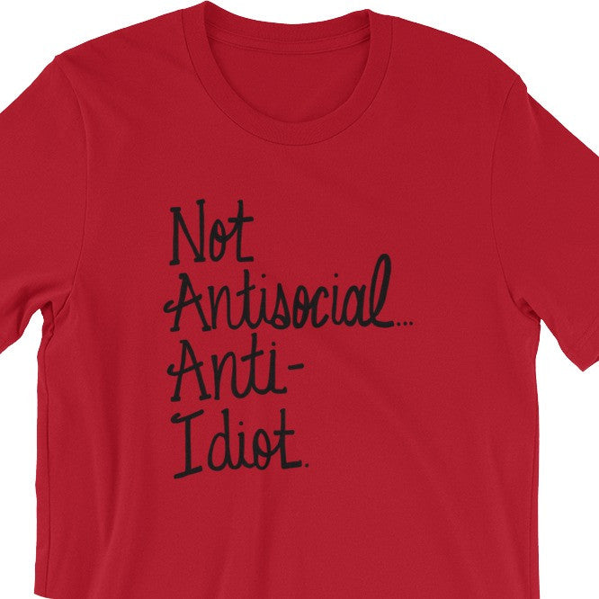 Not Antisocial Anti Idiot Funny T-Shirt Tee Shirt Sherlock
