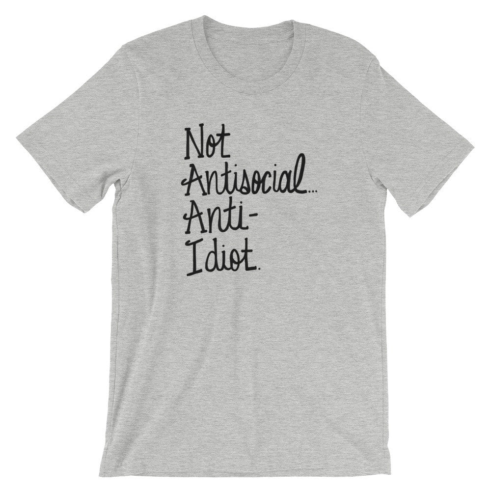 Gray Funny TShirt Mens Womens Unisex Anti Idiot Sherlock