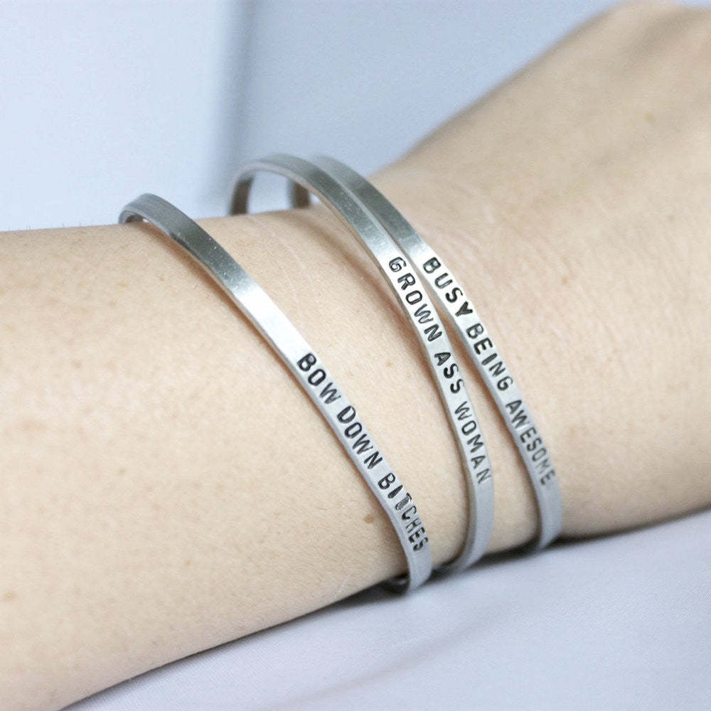 Being Awesome Funny Bracelet Hand Stamped Jewelry