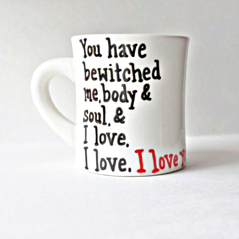 Hand Painted Jane Austen Quote Coffee Mug