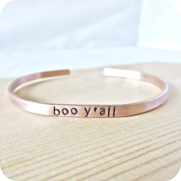 Boo Y'all Funny Halloween Jewelry Cuff Bracelet