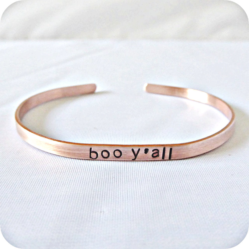 Boo Y'all Sarcastic Jewelry Skinny Copper Cuff For Layering Minimalist Halloween